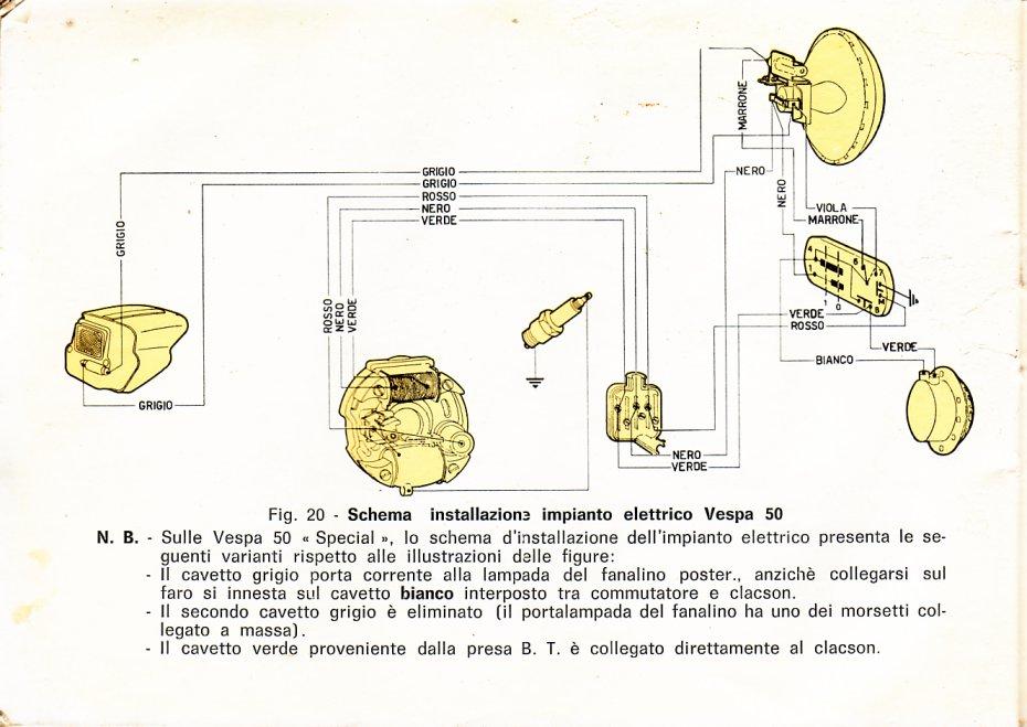Schema Elettrico Vespa 50 N : Schema impianto elettrico special tecnica generale