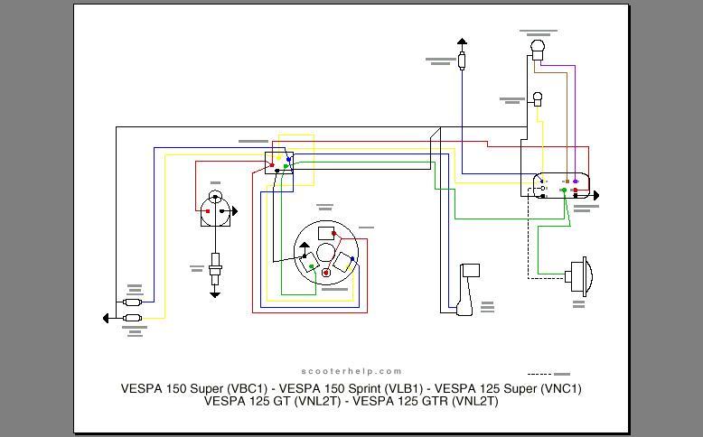 Schema Elettrico Et : Schema elettrico vespa special v b tenery impianto